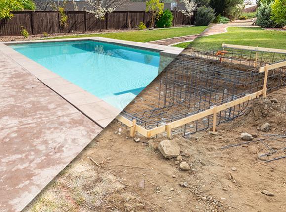 avant après construction piscine